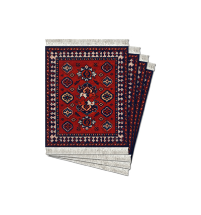 코스터러그 Early Turkmen, Licensed From de Young Museum Coaster Rug-4pcs
