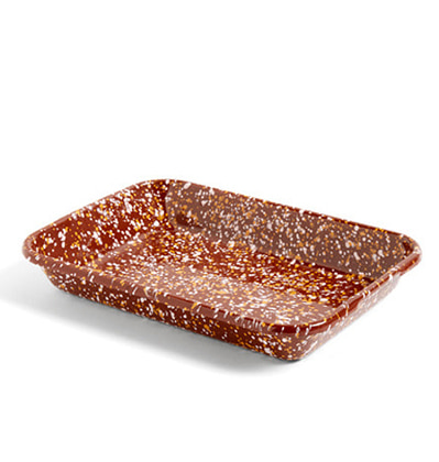 헤이 애나멜 트레이 HAY Enamel Tray Rectangular Sprinkle Brown