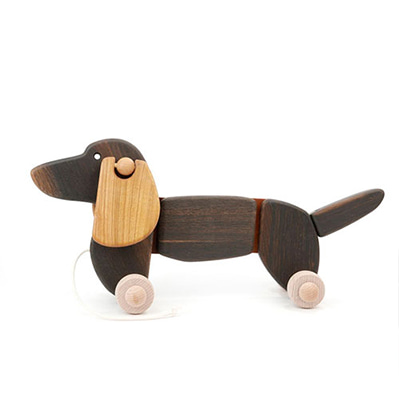 바조 닥스훈트 우드 장난감 Bajo Dachshund Dog Toy Black Oak Dachshund Large