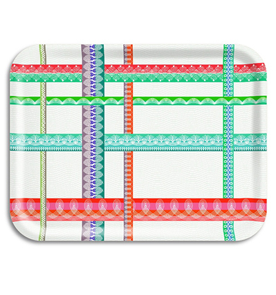 자작나무 트레이 아리 Ary Trays Folk Stripe Tray White 43 * 33 cm