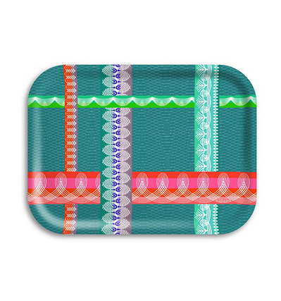 자작나무 트레이 아리 Ary Trays Folk Stripe Tray Green 27 * 20 cm