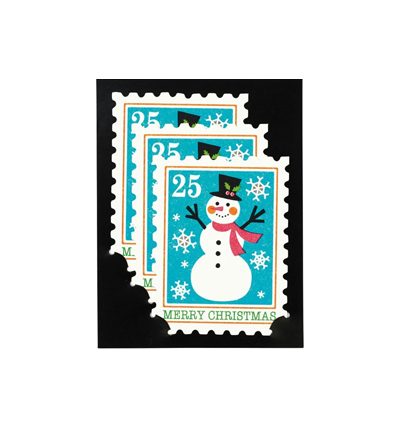 크리스마스 카드 Christmas Card Snowman Stamp three piece set Mini